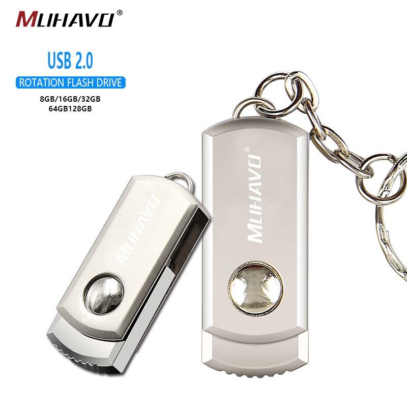Metal Usb Flash Drive 128GB 64GB 32GB Pen Drive 16GB Rotatable Pendrive 8GB 4GB Usb Stick 2.0 Flash Drive  Custom Logo