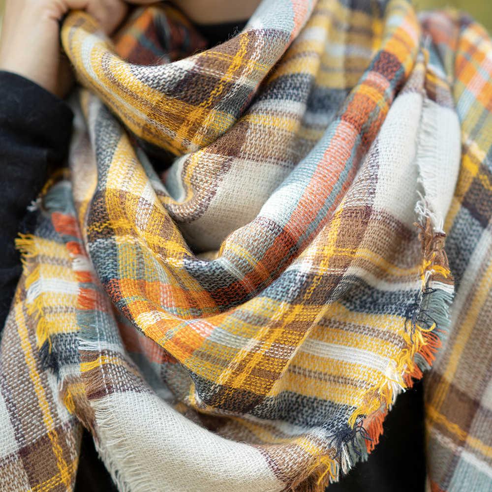 Gorące kobiety zimowy szalik kaszmirowy żółty moda damska ciepły szal pashmina Wrap Cashmere luksusowej marki szal zimowy szalik z pledu