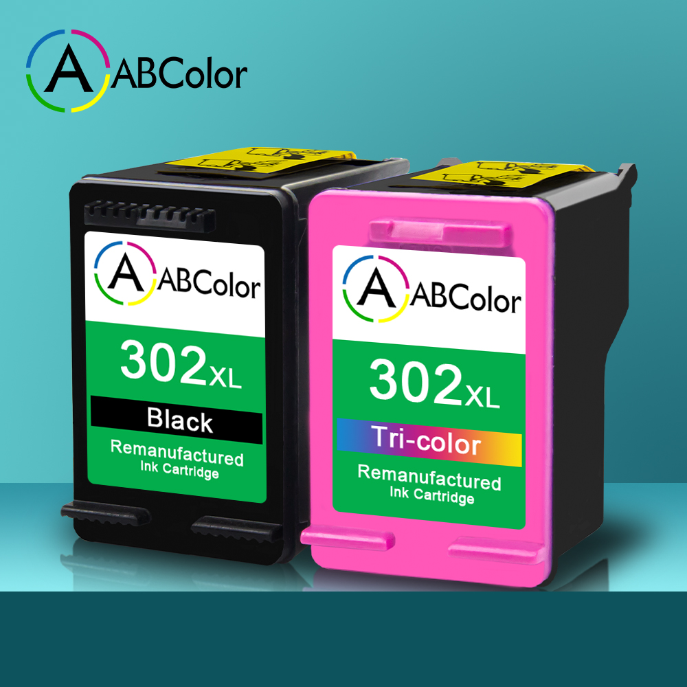A ABCOLOR Remanufactured 302XL <font><b>Ink</b></font> Cartridge Compatible for <font><b>HP</b></font> Officejet 5255 4655 5220 5230 <font><b>Deskjet</b></font> <font><b>2130</b></font> 3630 1110 Envy <font><b>Printer</b></font> image