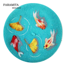 Faramita Holiday Koi Lake Women French Berets Ginkgo Painter