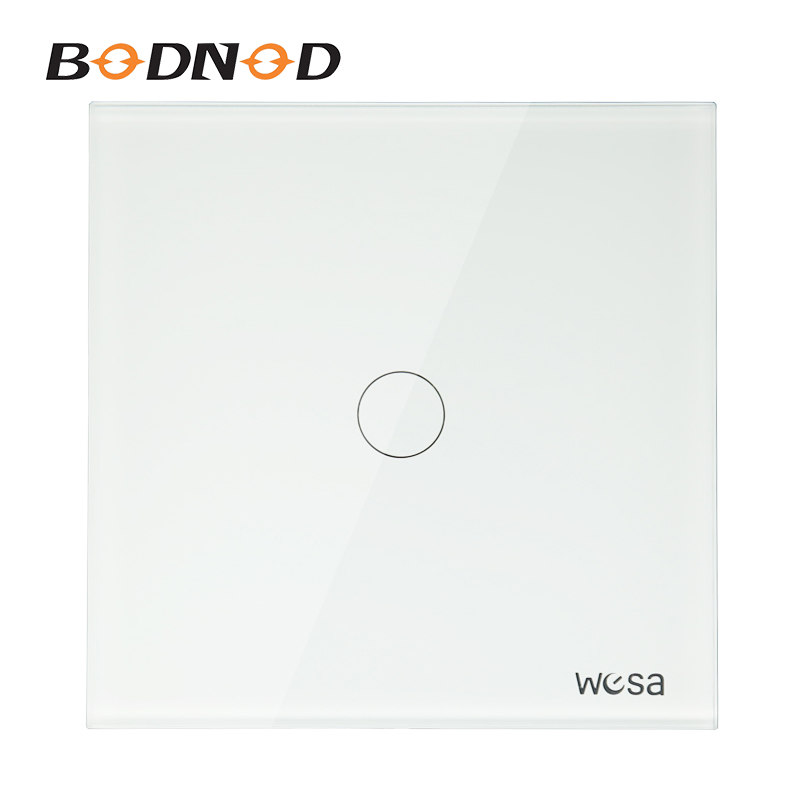 Hot New EU Standard Switch Wall Touch Switch Luxury White Crystal Glass, 1 Gang 1 Way Wall Switch CMW-01