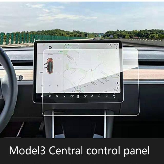 Center Console Navigation and Dashboard Screen Protector Tempered Glass Anti-Scratch Protector for Tesla Model 3/X/S 1
