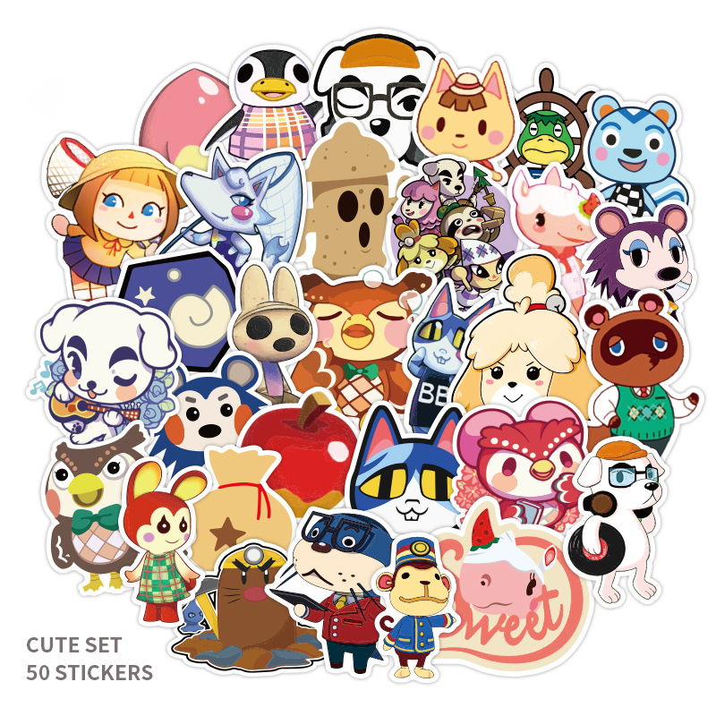 50pcs Cartoon Animal Crossing: New Horizons Toy Stickers For Car Styling Bike Motorcycle Phone Laptop Travel Luggage Sticker