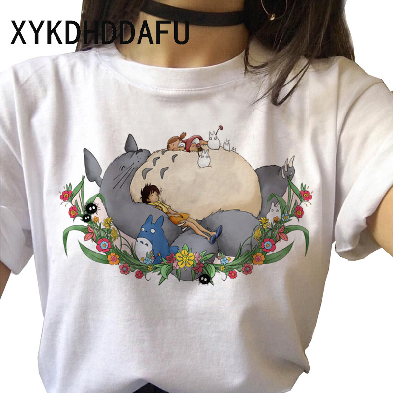 H9c103d1790b64c849caeaf57e3c7ba47U - Totoro T Shirt Women Kawaii Studio Ghibli Harajuku Tshirt Summer Clothes Cute Female ulzzang T-shirt Top Tee japanese Print