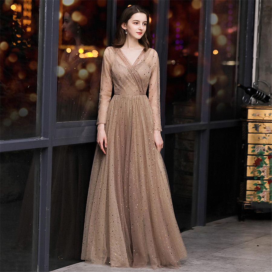 It's Yiiya Evening Dress Long Sleeve V-neck Formal Evening Dresses Elegant For Women E1369 Shining Plus Size Robe De Soiree 2020