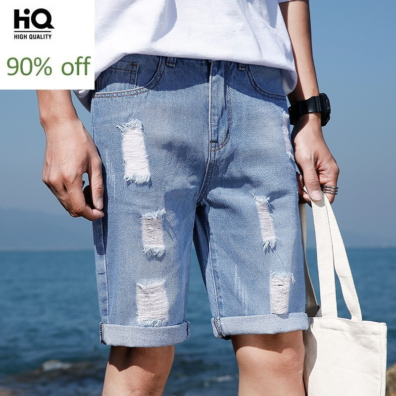 Casual Mens Shorts Summer 2020 New Fashion High Street Slim Fit Knee-Length Denim Trousers Straight Hole Ripped Jeans Short Man