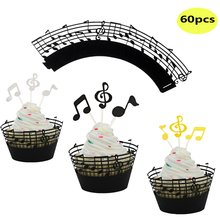 METABLE (Set of 60)  Music Notes Cupcake Wrappers and Topper Lace Muffin Case Paper Liner,Music Decorations Part