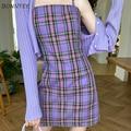 Женское платье без рукавов, фиолетовые клетчатые милые сексуальные женские мини-платья, облегающие повседневные облегающие платья с низки...