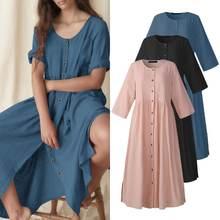 ZANZEA – Robe Maxi en coton à manches courtes pour femmes, couleur unie, avec boutons, collection été 2021