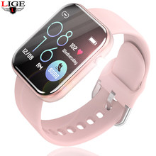 LIGE nouvelle montre intelligente femmes hommes Smartwatch pour Android IOS électronique horloge intelligente Fitness Tracker bracelet en Silicone montre intelligente + boîte(China)