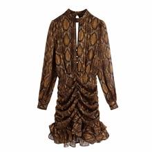 Loose Mini Dress Skin-Print Cascading Snake Ruffle Hem Long-Sleeve Female Casual Women