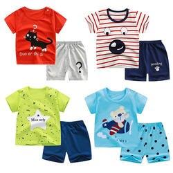 Унисекс на возраст от 12 мес. до 3 лет комплекты для малышей 2 шт./компл. летние хлопковые футболки с короткими рукавами для мальчиков; одежда с
