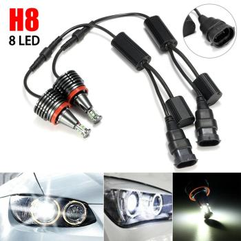 1 Pair 80W 8LED Car Angel Eye Halo Light H8 Marker Headlights Bulbs Lamps for BMW E82 E90 E92 E60 E70 X5 image