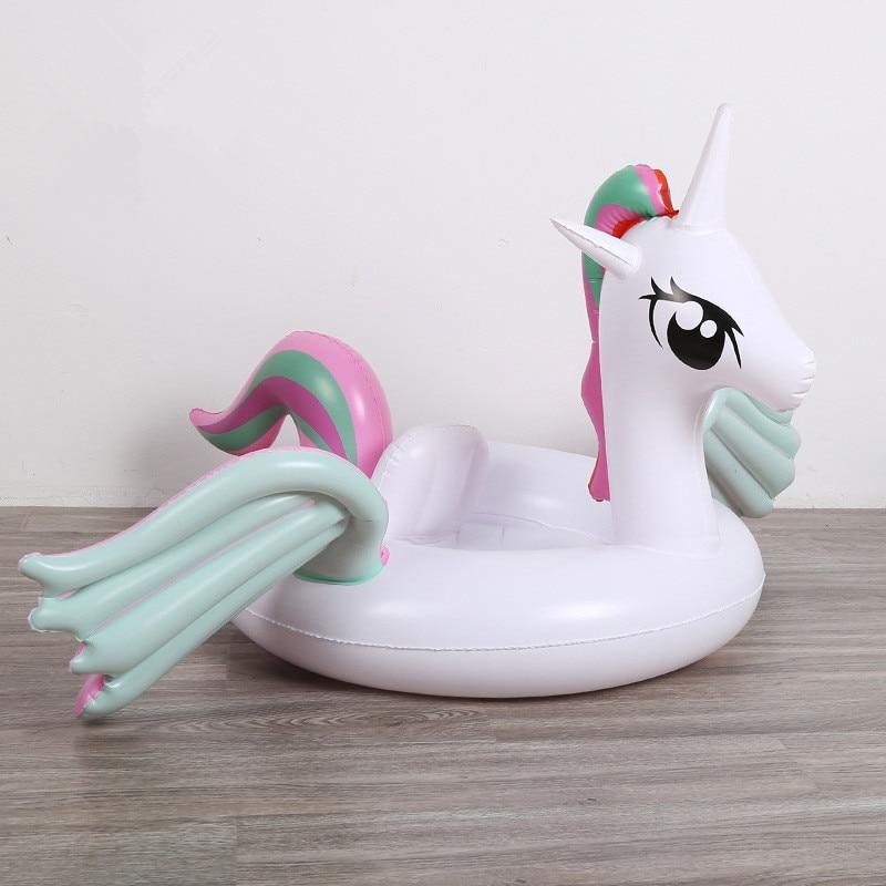 Купить с кэшбэком Unicorn Kids Pedestal Ring Infant Swimming Tube Seat Ring Colorful Wings Pony Inflatable Cup Holder for Pool Baby Swim Float