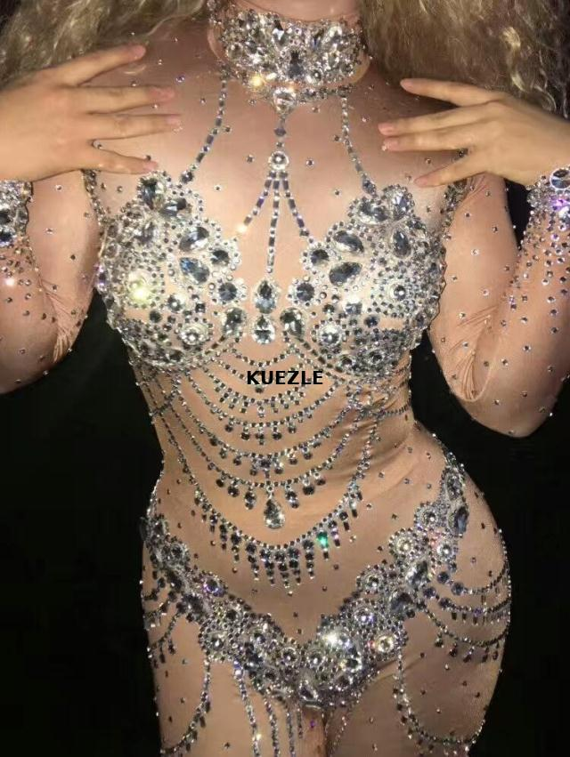 Jazz Dance Sparkly Crystals Nude Jumpsuit Stretch Stones Outfit Celebrate Bright Rhinestones Bodysuit Costume Female Singer XL