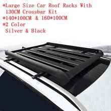 Supports de toit et boîtes de bagages universels en alliage d'aluminium épais, Kit de cadre de bagages avec 2 pièces, barre transversale de 130CM, charge de 150KG, SUV de grande taille