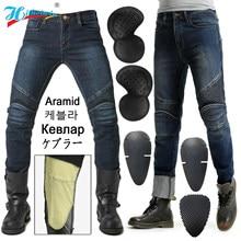 Jazda motocyklem dżinsy męskie spodnie przeciwdeszczowe spodnie na lato mężczyzna protectio dodał aramidowe ognioodporne do noszenia na kolanach