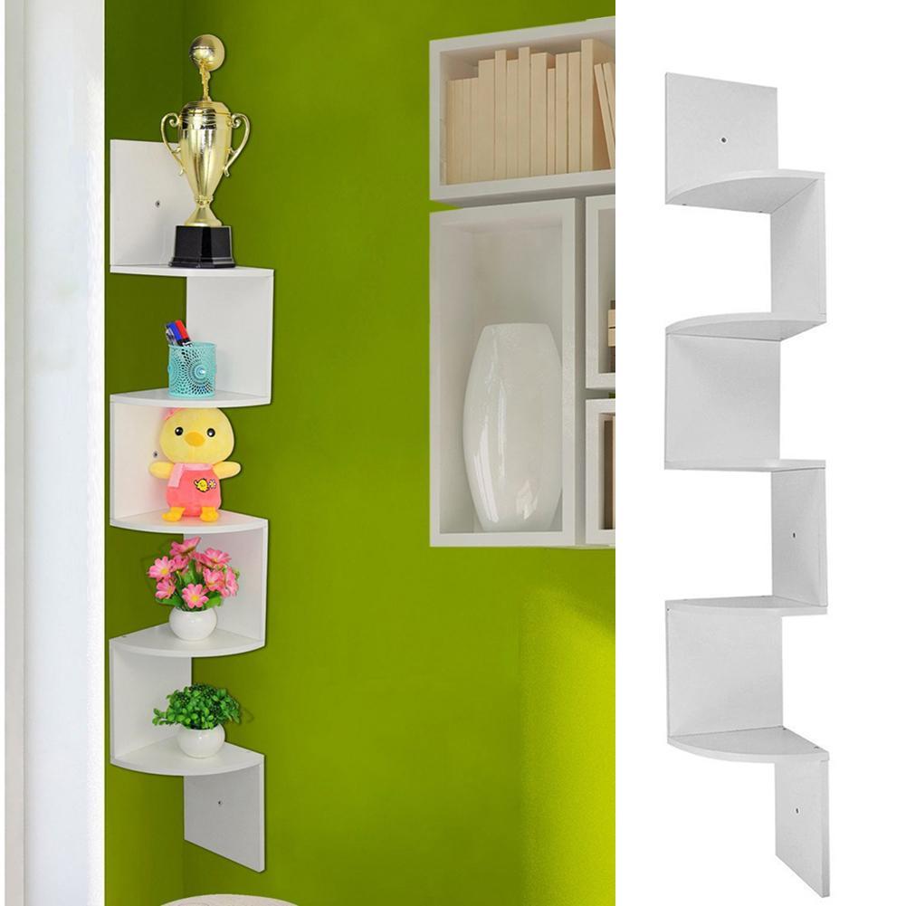 5 Tier Wooden Corner Shelf Floating Wall Mount Storage Display Rack Decor Home