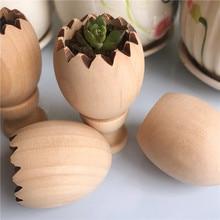 Diy mini flowerpot de madeira design de casca de ovo decoração para casa inacabada de madeira em branco para crianças adulto artesanal criar artesanato de madeira
