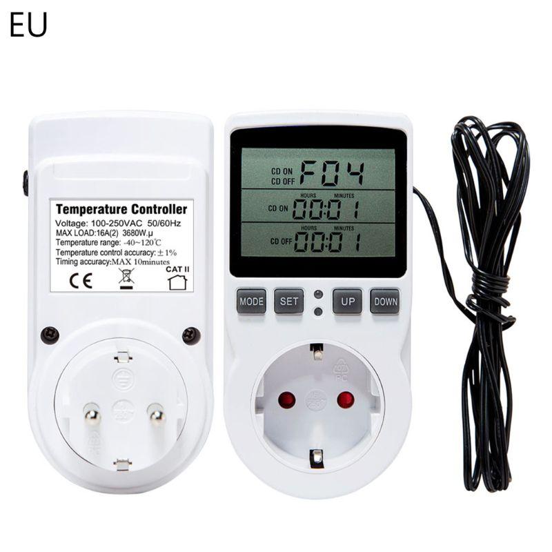 Термостат цифровой регулятор температуры розетка с таймером переключатель Датчик нагревания охлаждения 16A AC 110V ~ 230V