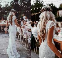 Vintage Crochet Lace Mermaid Wedding Dresses Cap Sleeve V neck Low Back Cotton Lace Bohemian Country Garden Bridal Wedding gowns
