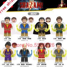 Flash-shazam Film Freddy Freeman Schwarz Adam Pedro Pena Mary Marvel Eugene Choi Super Heroes legoings Bausteine Spielzeug Figur(China)