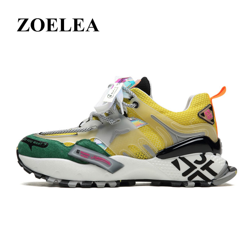 ZOELEA 2020 Chunky Shoes Men Casual dad Shoes Lovers Flats Outdoor Sneakers Mesh Breathable Walking Footwear Sport Trainers