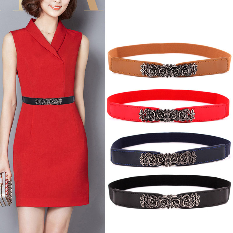 KWD Designer Belts High Quality Women Fashion 2019 Ladies Elastic Rose Flower Vintage Waist Belt Luxury Dress Female Cummerbunds