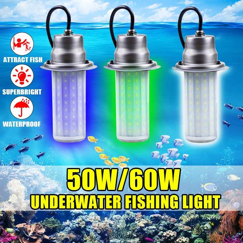 Outdoor 0 30m Unterwasser Licht IP68 Wasserdicht für Meer Nacht Angeln LED Locken Beleuchtung DC12V 50/ 60W Fisch Attraktor Lampe