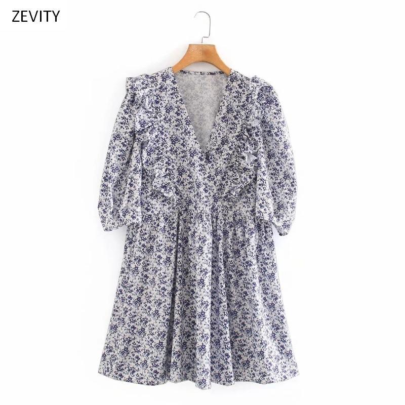 Zevity New women vintage v neck floral print pleats casual mini dress female cascading ruffles vestido chic party dresses DS3973
