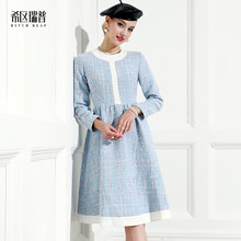 High End Small Fragrance Tweed Color Matching Dress Celebrity Temperament Hepburn 2021 Spring Dress New Woman