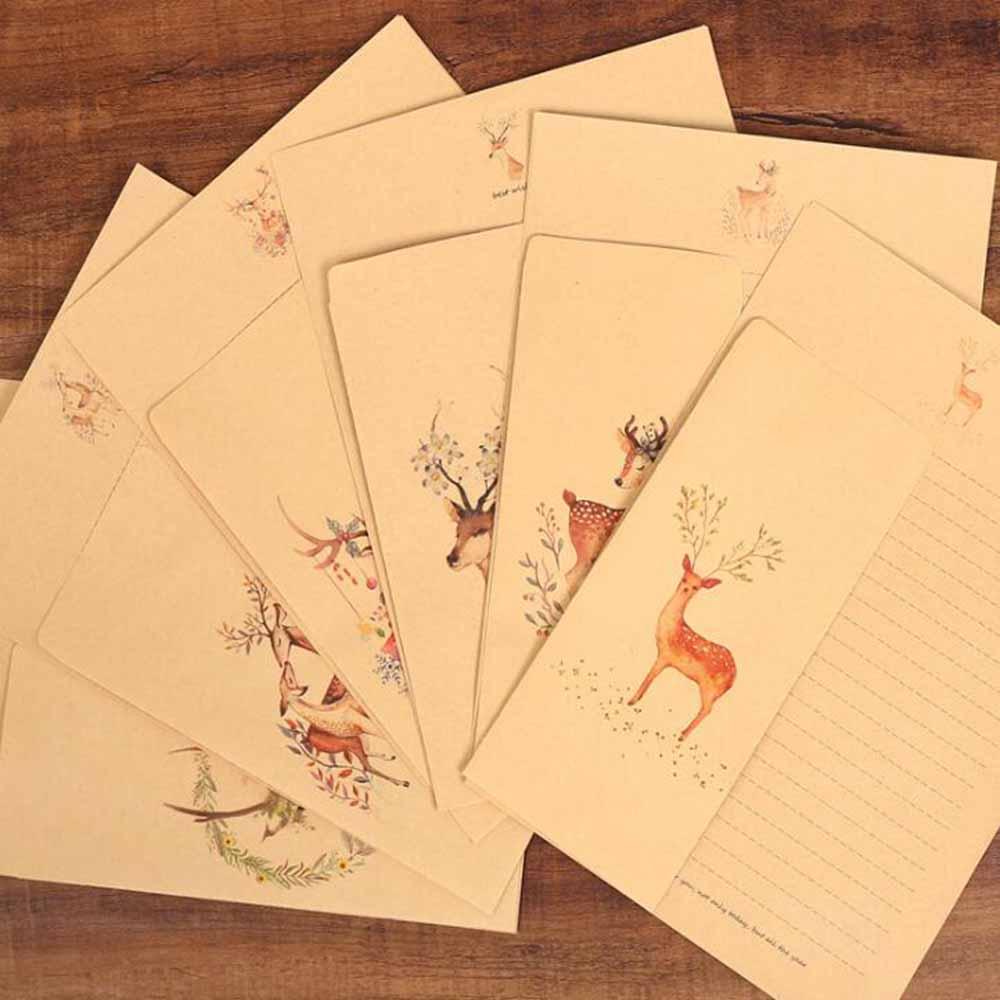 XRHYY 6 шт., винтажная бумага для письма с оленем и конвертами, ретро набор, крафт-бумага для письма, винтажный набор бумаги с буквами
