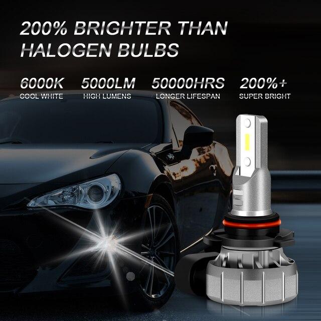 SUHU 2 pièces H10 LED phares ampoules 6000K 5000LM 12W haute puissance 300% plus lumineux antibrouillard CSP puces remplacement pour accessoires de voiture