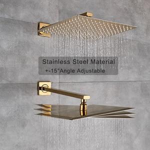 Image 2 - Kit de torneira para banheiro, kit de chuveiro dourado de 8/20/22 polegadas, chuveiro quadrado, torneira, montagem na parede, torneira do banheiro, oculto, misturador torneira banheira