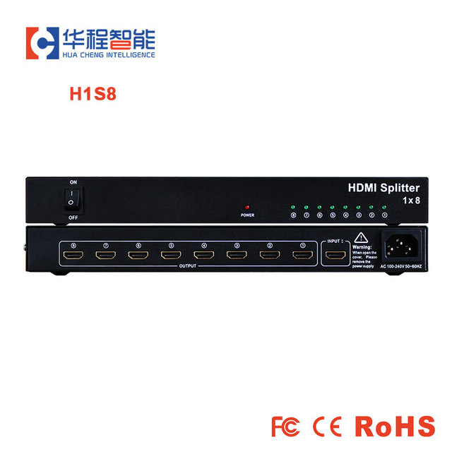Free shipping hdmi splitter AMS H1S8 1 HDMI  Input, 8 HDMI Output support 1080p 3D 4K HD resolution for led outdoor display