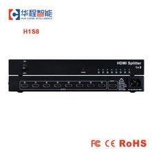 משלוח חינם hdmi ספליטר AMS H1S8 1 HDMI קלט, 8 יציאת HDMI תמיכת 1080p 3D 4K HD רזולוציה עבור led חיצוני תצוגה