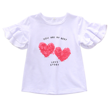 1-6Y kids tops for girls t shirts white short ruffle sleeves sweatheart printed girls tops back to school toddler girl shirts цены онлайн