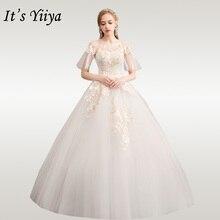 It's YiiYa Wedding Dresses 2020 Embroidery Flare Sleeve Wedding Dress Elegant Plus Size Women Vestido De Novia Bridal Gowns D31