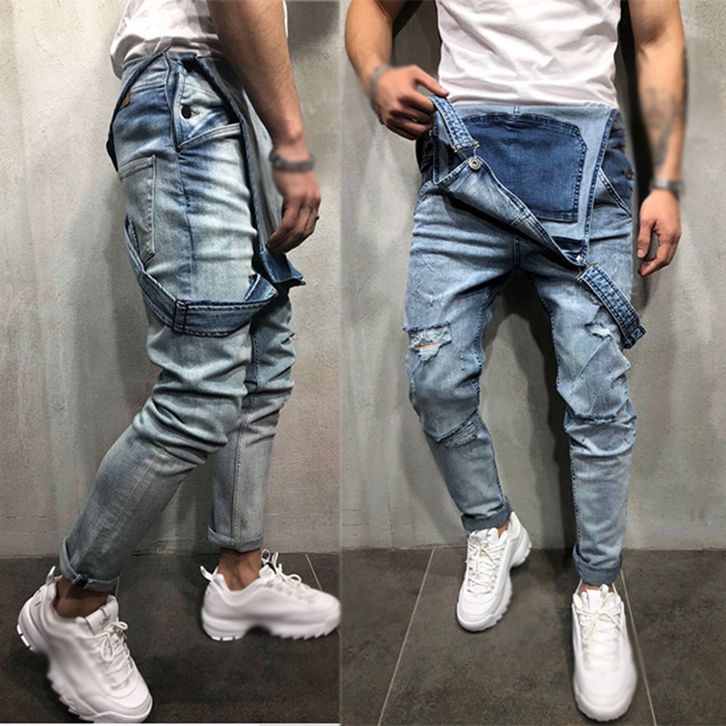 Retro Men's Jeans Stretch Wild Trousers Mens Casual Streetwear Men Blue Jeans Straps Pocket Denim Jean Jumpsuit Rompers Overalls