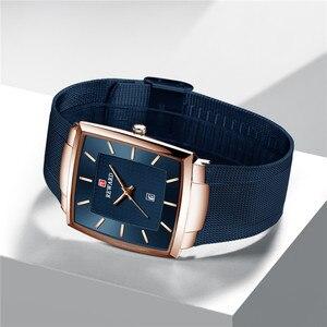 Image 3 - Часы наручные мужские кварцевые, брендовые деловые, квадратные, водонепроницаемые полностью стальные