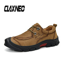 Buy CLAXNEO Man Ankle Boots Leather Shoes Autumn Male Boot Genuine Leather Mens Walking Footwear Big Size directly from merchant!