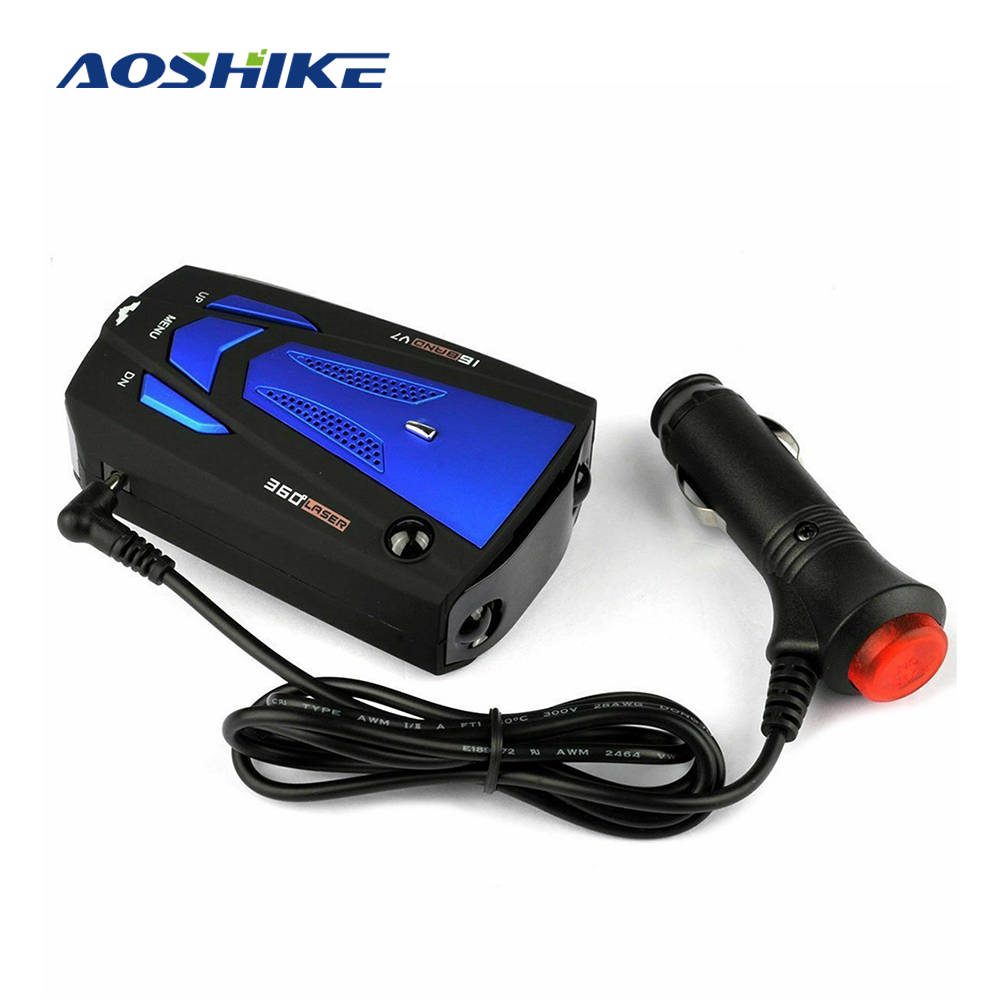 AOSHIKE Russian Car Radar Detector English Car 360 Degree GPS Vehicle V7 Speed Alert Voice Alarm Warning 16 Band LED Display