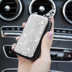 Image 3 - 1 Pcs Männer & Frauen Auto Schlüssel Tasche Wallet Kristall Schlüssel Fall Mode Keeper Halter Luxus für BMW LADA Zubehör