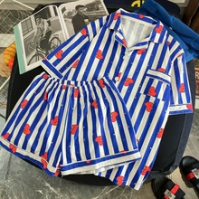 Pajamas Set Harajuku Pink Striped Rabbit Heart SF