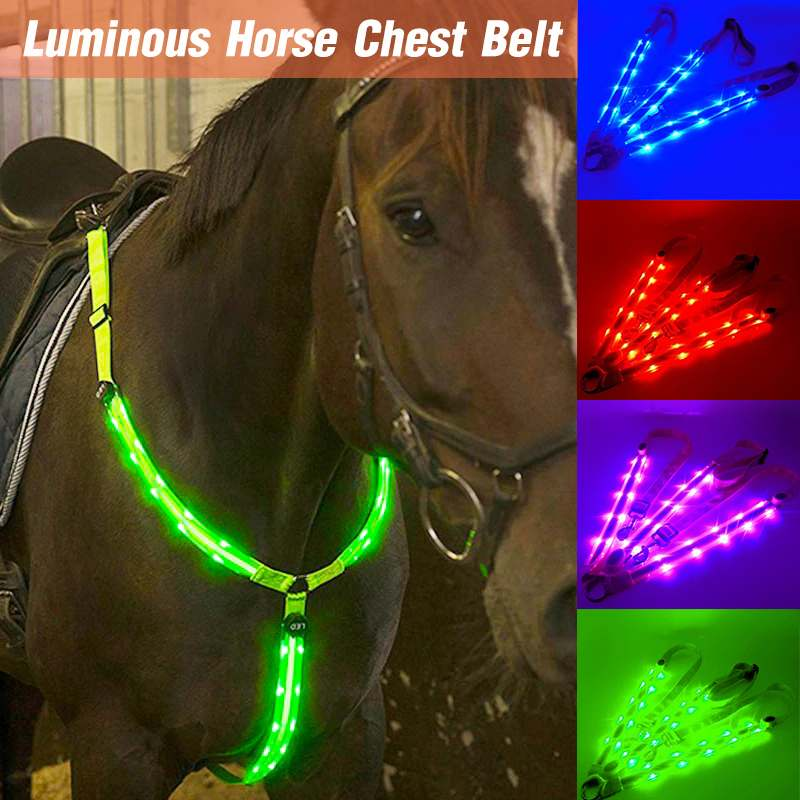 LED Horse Riding Belt Waterproof Nylon Horse Chest Belt Night Visible Breastplate Equitation Lighting Equestrian Equipment 1