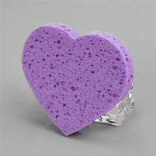 Dry Wet Amphibious Makeup Foundation Sponge Blender Puff Powder Smooth Heart-shaped Remover Wood Pulp Cotton