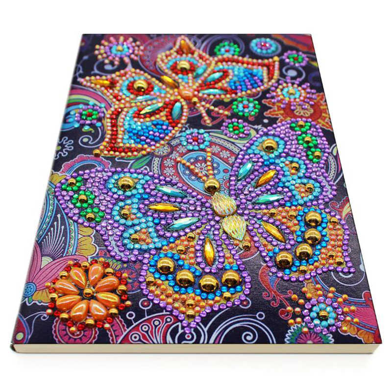 Travel Notebook with Diamond Painting Cover Sketchbook Journal Mandala Diamond Painting 50 Pages A5 Notebook Notepad Mosaic Making Art Craft for Beginner JT011