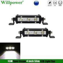 """2x SUV araba 15W 4 """"ince Mini LED iş lambası şeridi Moto Offroad UTV 4x4 kamyon yedekleme ters spot sürüş sis lambası"""