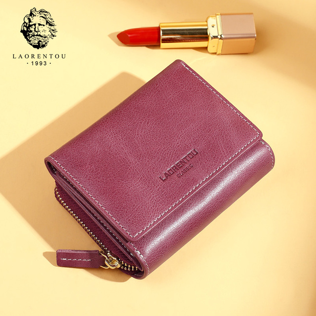LAORENTOU Genuine Leather Ladies Money Bag Female Short Wallet Casual Card Holder Clutch Bag For Women Coin Purse Mothers Gift