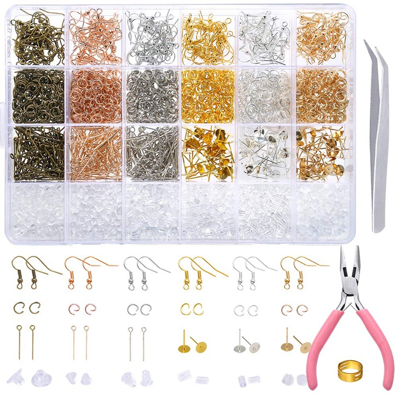 463 Pieces Earring Making Supplies Kit With Earring Hooks, Jump Rings, Earring Post, Pliers, Tweezers, Jump Ring Opener For Earr